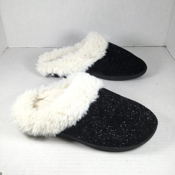 Isotoner Faux Fur Slippers Black Size 6.5-7